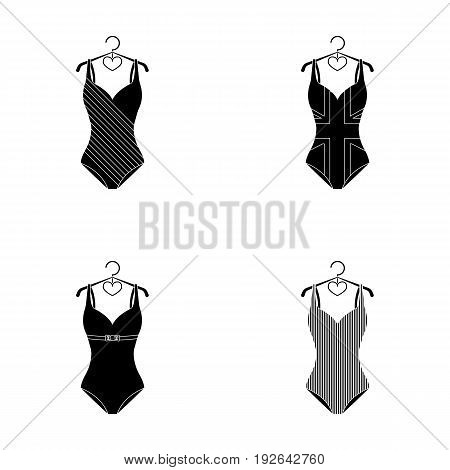 Different kinds of swimsuits. Swimsuits set collection icons in black style vector symbol stock illustration .