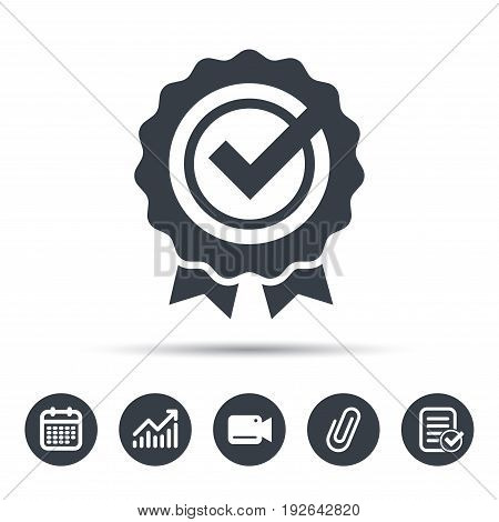 Award medal icon. Winner emblem with tick symbol. Calendar, chart and checklist signs. Video camera and attach clip web icons. Vector