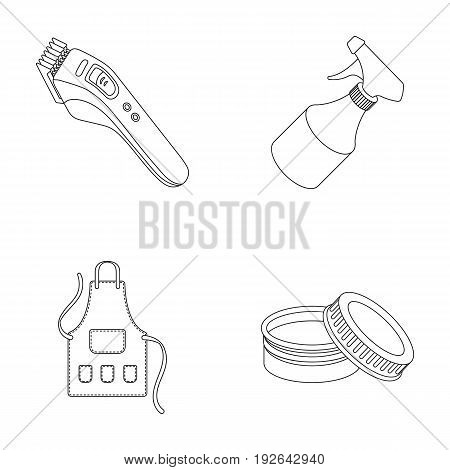 Electric clipper, apron, cream and other accessories for a male hairdresser.Barbershop set collection icons in outline style vector symbol stock illustration .