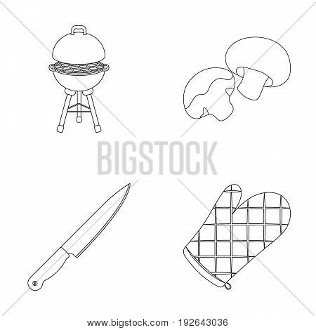 Barbeque grill, champignons, knife, barbecue mitten.BBQ set collection icons in outline style vector symbol stock illustration .