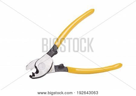 Photo of yellow hole punch close-up on white empty background