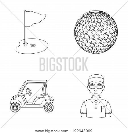 Field with a hole and a flag, a golf ball, a golfer, an electric golf cart.Golf club set collection icons in outline style vector symbol stock illustration .