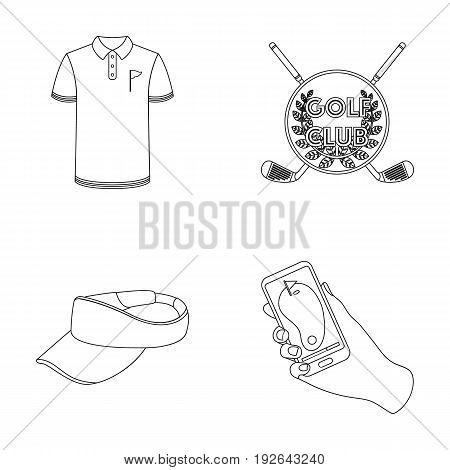 Emblem of the golf club, cap with a visor, golfer shirt, phone with a navigator.Golf club set collection icons in outline style vector symbol stock illustration .