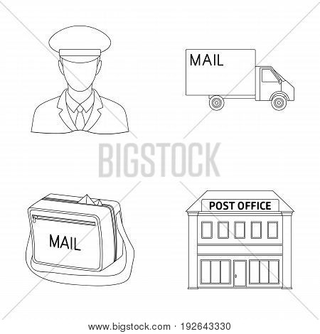 The postman in uniform, mail machine, bag for correspondence, postal office.Mail and postman set collection icons in outline style vector symbol stock illustration .
