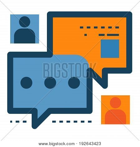 Chat message notification with user icon. Digital Talk. Chat application, message interface conceptual illustration isolated vector. Transparent.
