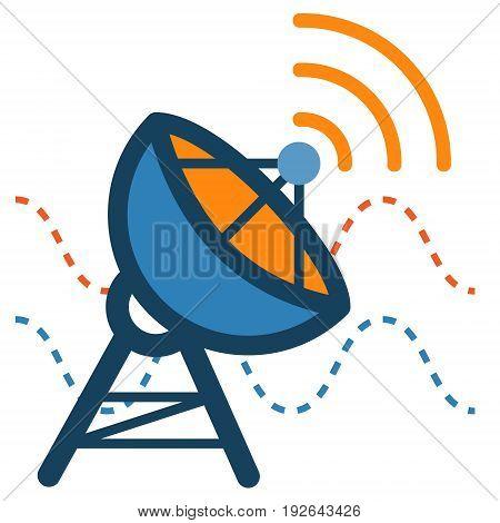 Radar Satellite Dish Antenna icon. Communication technology concept illustration isolated vector. Transparent