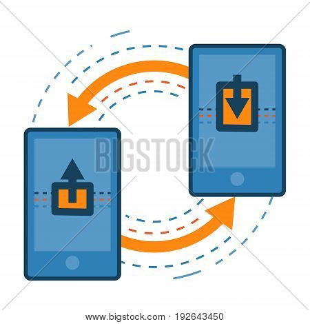 Transferring data from one mobile to other. Smartphone data sharing and transfer concept icon illustration isolated vector. Transparent.