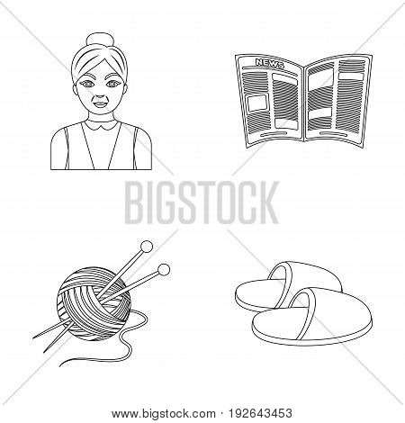 An elderly woman, slippers, a newspaper, knitting.Old age set collection icons in outline style vector symbol stock illustration .