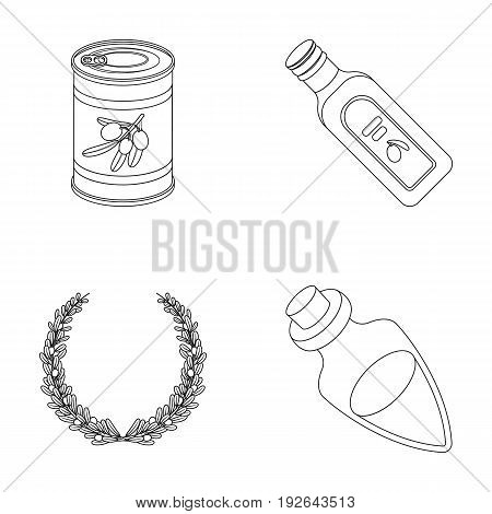 A can of canned olives, a bottle of oil with a sticker, an olive wreath, a glass jar with a cork. Olives set collection icons in outline style vector symbol stock illustration .