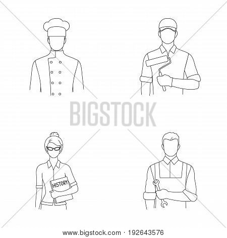 Cook, painter, teacher, locksmith mechanic.Profession set collection icons in outline style vector symbol stock illustration .