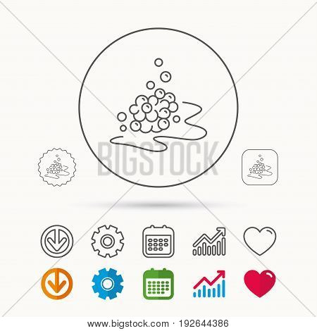 Bubbles icon. Foam for bathing sign. Washing or shampoo symbol. Calendar, Graph chart and Cogwheel signs. Download and Heart love linear web icons. Vector