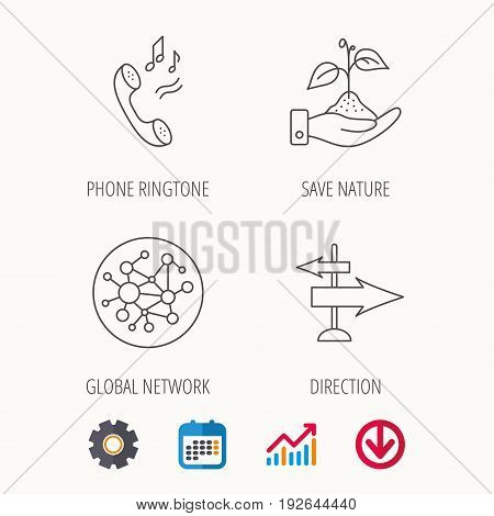 Phone, global network and direction icons. Save nature linear sign. Calendar, Graph chart and Cogwheel signs. Download colored web icon. Vector