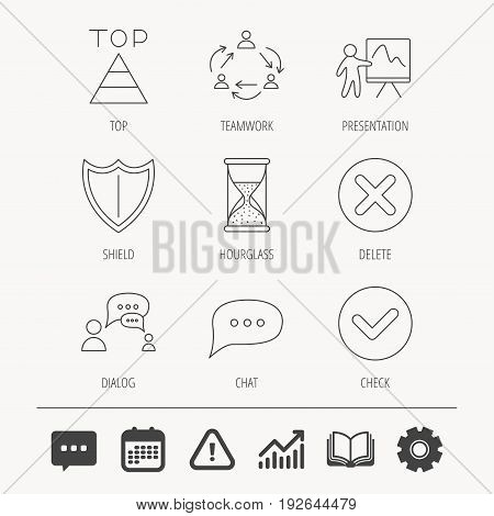 Teamwork, presentation and dialog icons. Chat speech bubble, shield and pyramid linear signs. Check, delete and hourglass flat line icons. Education book, Graph chart and Chat signs. Vector
