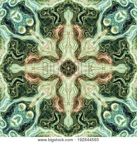 Square beautoful ornate mandala spirit harmony khaki green picture design