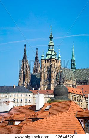 View of St. Vitus Cathedral of sunny day closeup, Prague, Czech republic