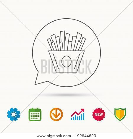Chips icon. Fries fast food sign. Fried potatoes symbol. Calendar, Graph chart and Cogwheel signs. Download and Shield web icons. Vector