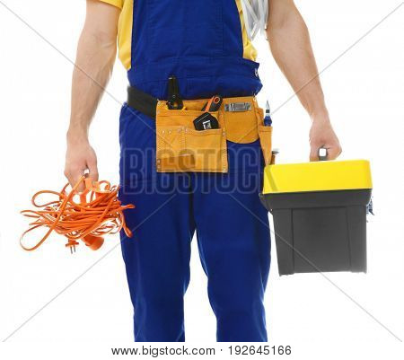 Electrician with bunch of wires and toolbox on white background