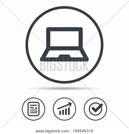 Computer icon. Notebook or laptop pc symbol. Report document, Graph chart and Check signs. Circle web buttons. Vector