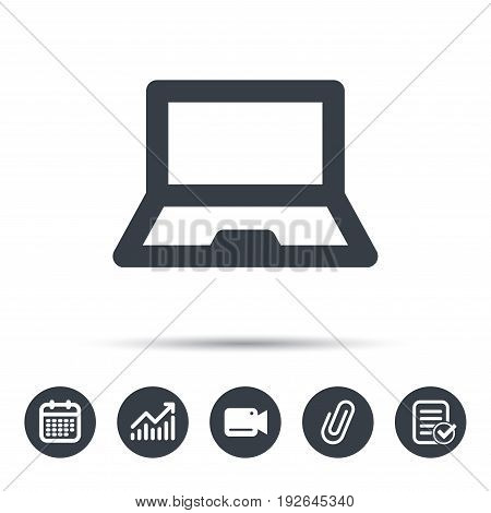 Computer icon. Notebook or laptop pc symbol. Calendar, chart and checklist signs. Video camera and attach clip web icons. Vector