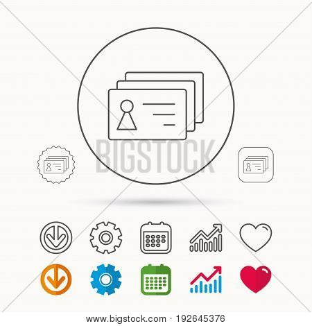 Contact cards icon. Identification badges sign. Identity holder symbol. Calendar, Graph chart and Cogwheel signs. Download and Heart love linear web icons. Vector