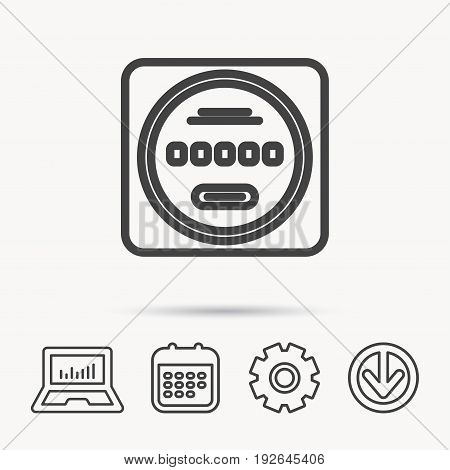 Electricity power counter icon. Measurement sign. Notebook, Calendar and Cogwheel signs. Download arrow web icon. Vector