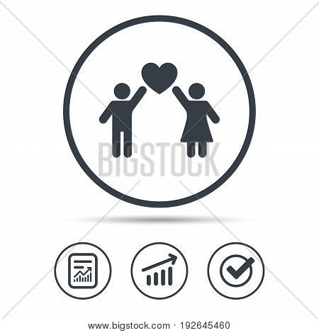 Couple love icon. Traditional young family symbol. Report document, Graph chart and Check signs. Circle web buttons. Vector