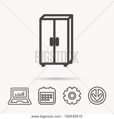 Cupboard icon. Wardrobe furniture sign. Notebook, Calendar and Cogwheel signs. Download arrow web icon. Vector poster