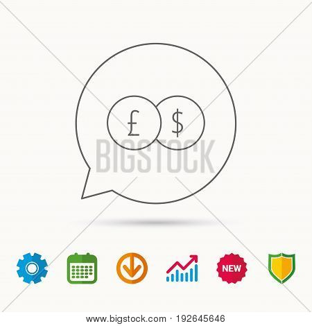 Currency exchange icon. Banking transfer sign. Pound to Dollar symbol. Calendar, Graph chart and Cogwheel signs. Download and Shield web icons. Vector