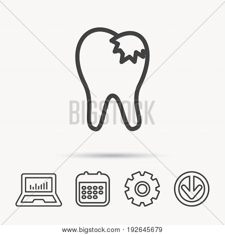 Dental fillings icon. Tooth restoration sign. Notebook, Calendar and Cogwheel signs. Download arrow web icon. Vector