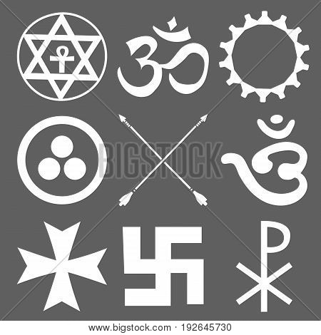 Set of esoteric symbols on a dark background