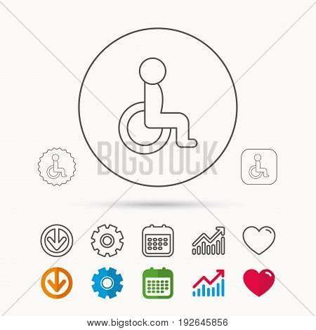 Disabled person icon. Human on wheelchair sign. Patient transportation symbol. Calendar, Graph chart and Cogwheel signs. Download and Heart love linear web icons. Vector