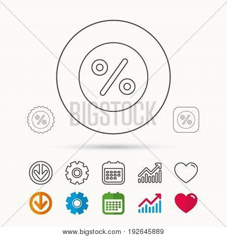 Discount percent icon. Sale sign. Special offer symbol. Calendar, Graph chart and Cogwheel signs. Download and Heart love linear web icons. Vector