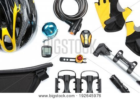 Set of bicycle accessories on white background