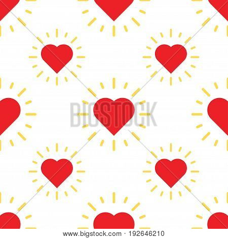 love hearts pattern with ray. Valentines day holiday vector illustration