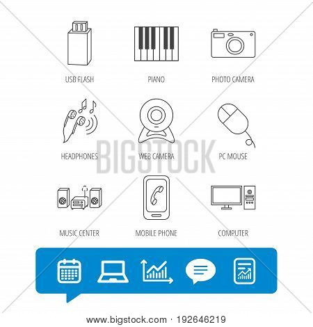 Smartphone, web camera and USB flash icons. Headphones, piano and photo camera linear signs. Computer, music center icons. Report file, Graph chart and Chat speech bubble signs. Vector