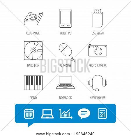 Tablet PC, USB flash and notebook laptop icons. Club music, hard disk and photo camera linear signs. Piano, headphones icons. Report file, Graph chart and Chat speech bubble signs. Vector