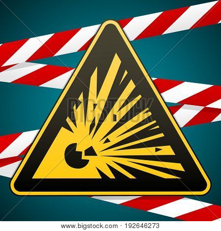 Caution - Risk of explosion Warning sign and warning bands. Vector illustration.