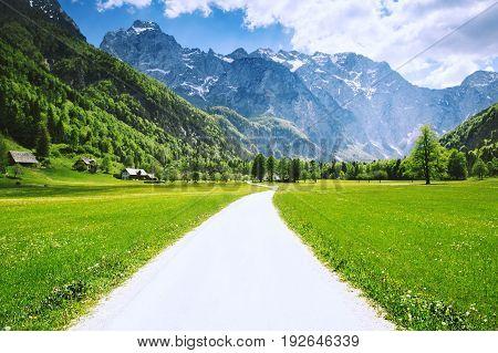 Logar valley or Logarska dolina Slovenia Europe. Travel Inspiration Freedom Healthy Lifestyles background