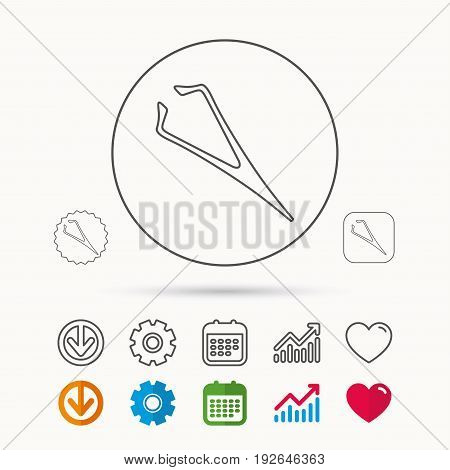 Eyebrow tweezers icon. Cosmetic equipment sign. Aesthetic beauty symbol. Calendar, Graph chart and Cogwheel signs. Download and Heart love linear web icons. Vector