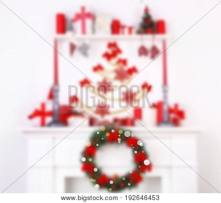 Blurred view of mantelpiece with Christmas decor. Happy New Year 2018
