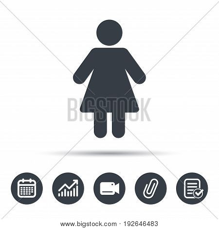Woman icon. Female human symbol. User sign. Calendar, chart and checklist signs. Video camera and attach clip web icons. Vector