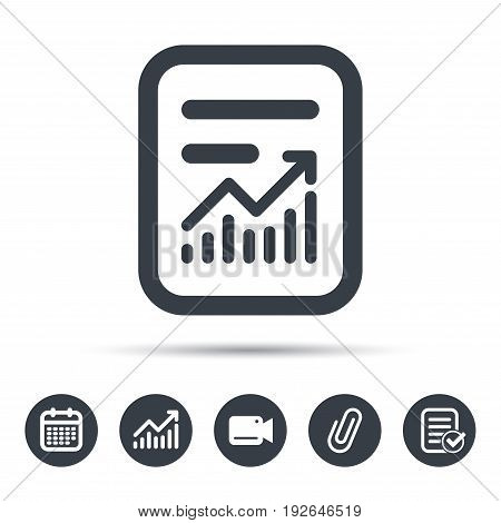 Report file icon. Document page with statistics symbol. Calendar, chart and checklist signs. Video camera and attach clip web icons. Vector