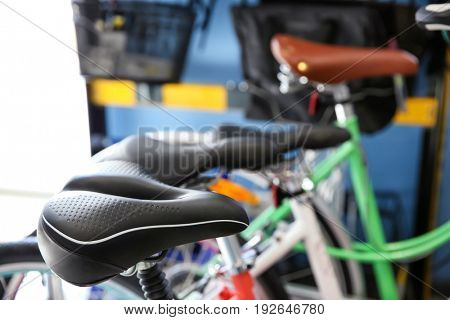 Bicycles with leather saddles, closeup