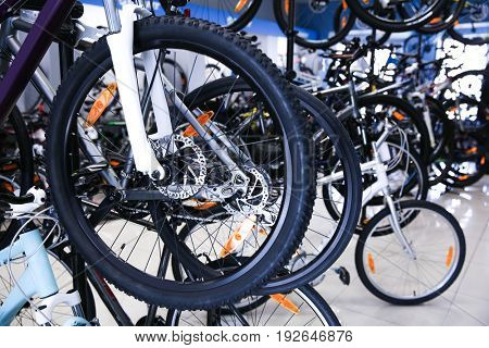 Bicycles with new wheels and tires in shop