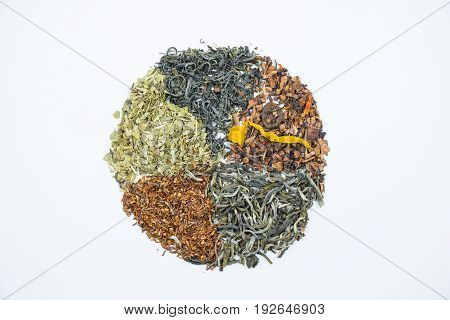 Pie chart made with dry tea leaves.