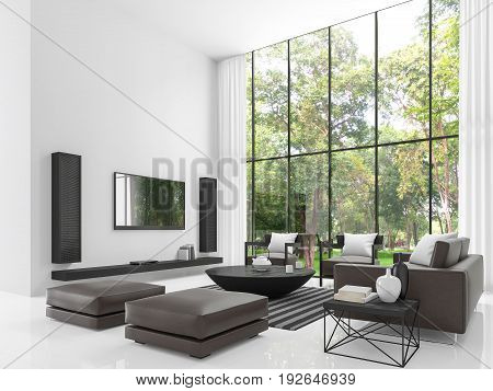 Modern white living room 3d rendering image.The living room has a high ceiling. There is a white wallfloors and decorate with black tone furniture and there has a large windows overlook the garden