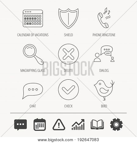 Phone ringtone, chat speech bubble icons. Shield, dialog and magnifier linear signs. Bird, calendar of vacations icons. Education book, Graph chart and Chat signs. Vector