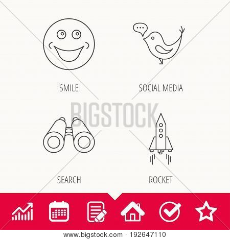 Rocket, social media and search icons. Smiling face linear sign. Edit document, Calendar and Graph chart signs. Star, Check and House web icons. Vector