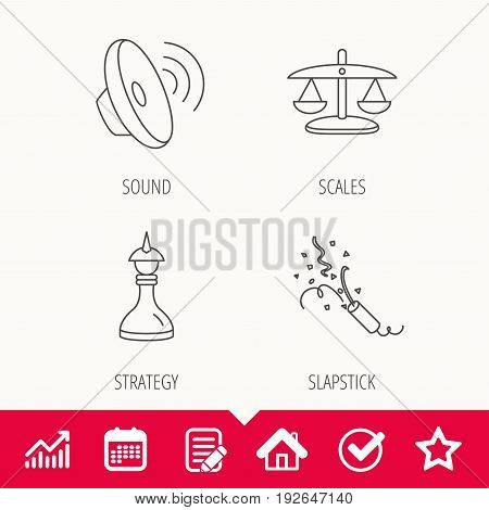 Scales of justice, sound and strategy icons. Slapstick linear sign. Edit document, Calendar and Graph chart signs. Star, Check and House web icons. Vector
