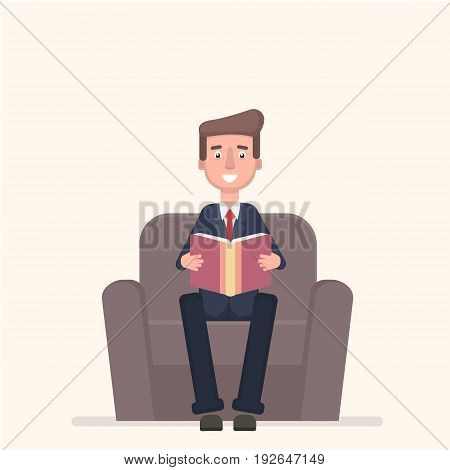 Businessman sitting in armchair and reading book. Vector illustration in a flat style.